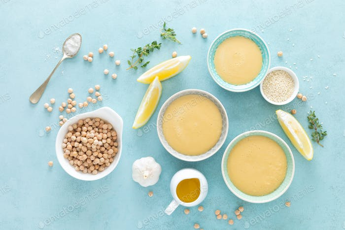 Chickpea sauce with fresh lemon juice, sesame seeds, garlic and olive oil