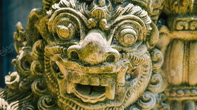 Traditional Balinese stone sculpture art and culture at Bali, Indonesia