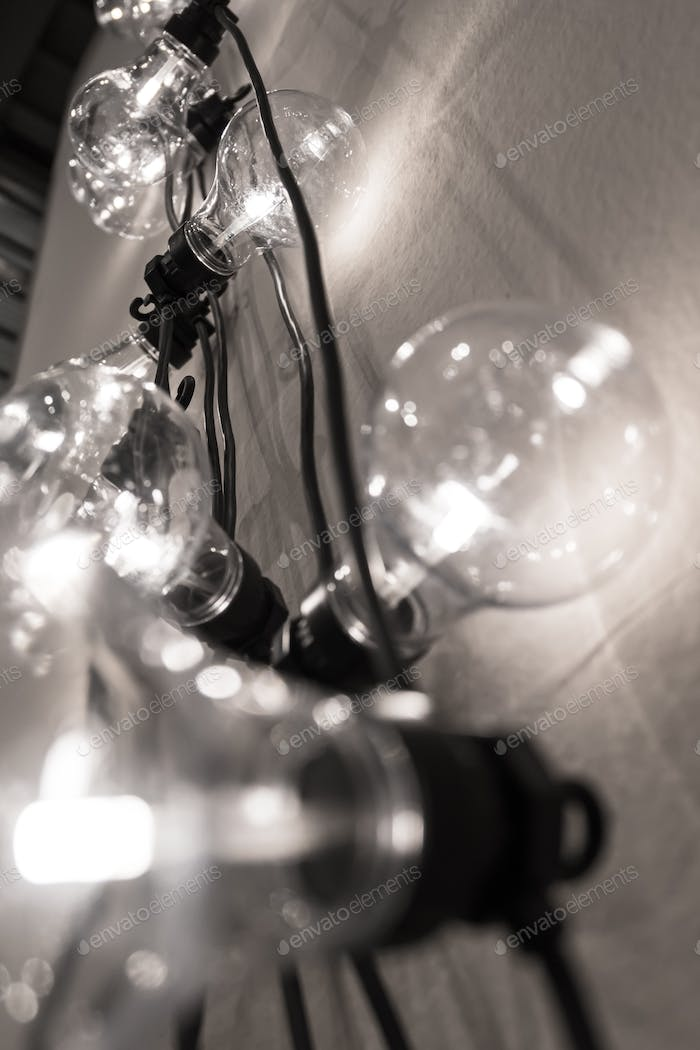 Vintage style light bulbs hanging from the wall