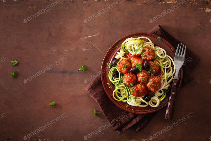 keto paleo zoodles zucchini noodles with meatballs and olives