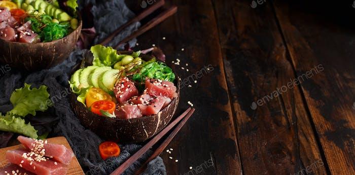 Hawaiian tuna poke bowls