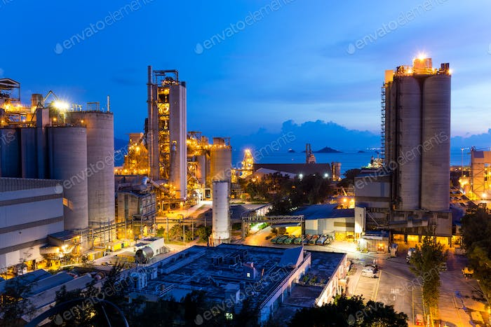 Cement industrial building at sunset