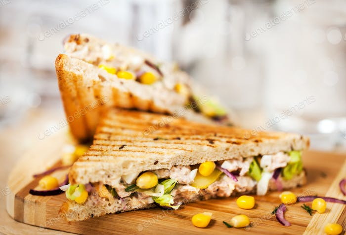 Homemade tuna sandwich, close-up, selective focus