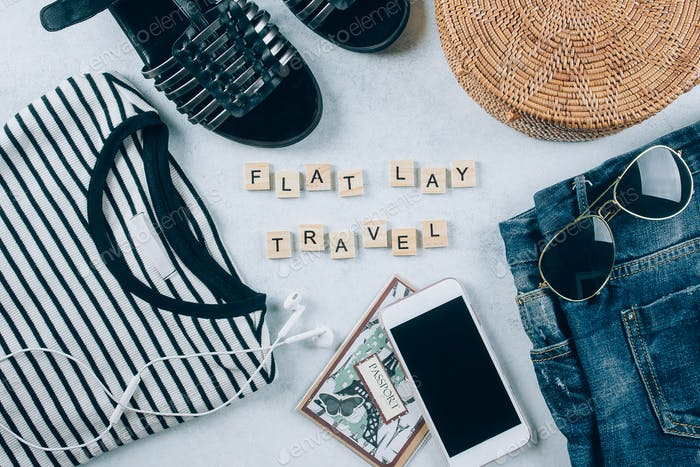 Travel flat lay. Spring and summer women's clothing and accessories. Vacation, travel concept