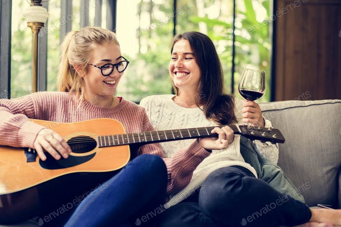 Women enjoying the music together