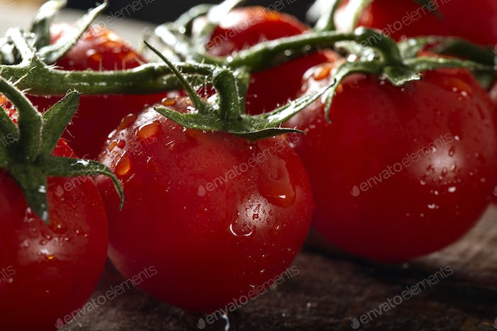 Fresh row cherry tomatoes