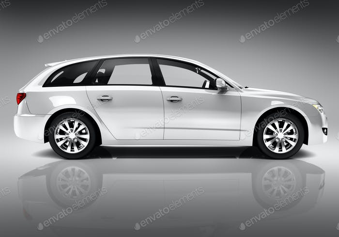 Studio Shot Of Three-Dimensional White Sedan