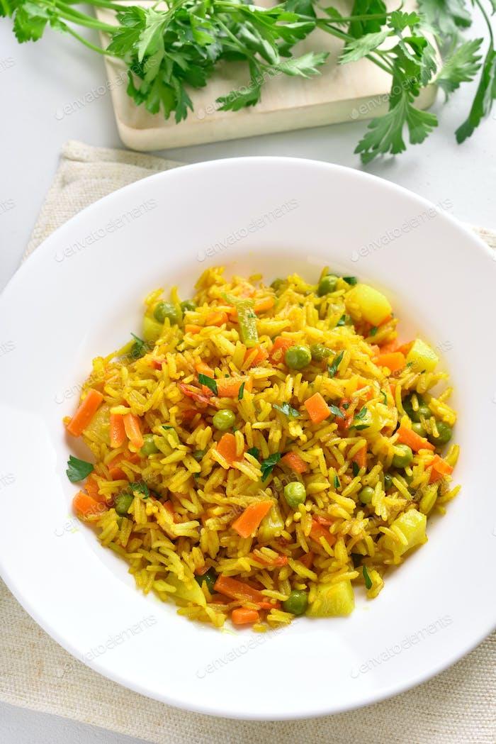 Vegetarian pilaf on plate