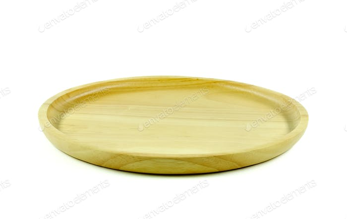 Wooden tray on white background.