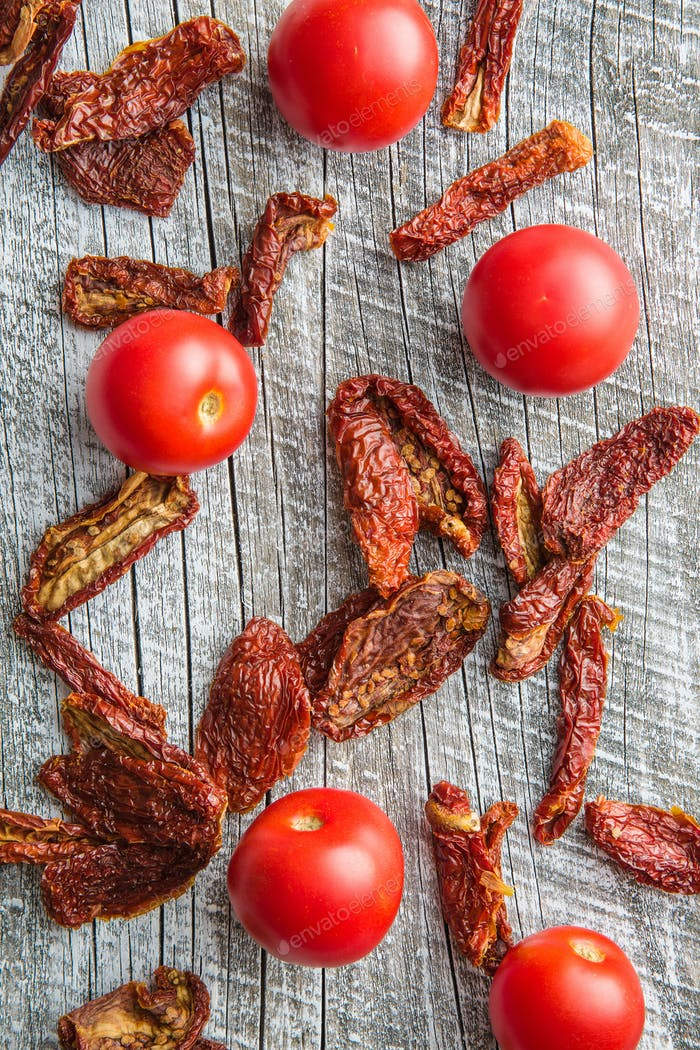 Fresh and dried tomatoes.