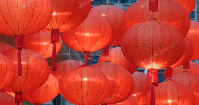 Traditional Red chinese lantern for chinese new year
