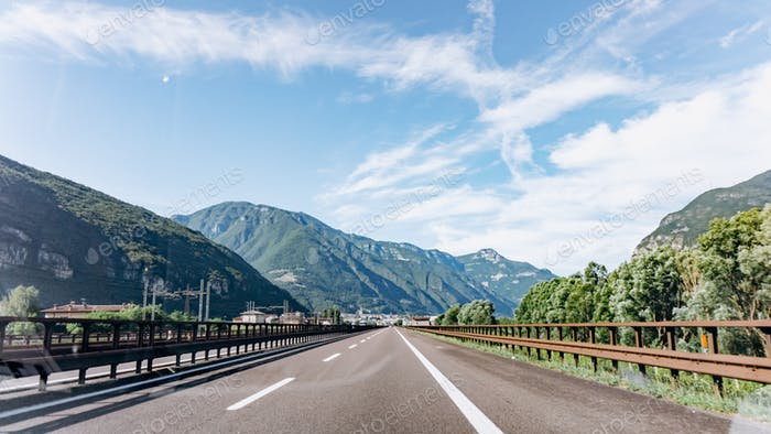 Mountain road. Mountain range. The road in the mountains. Roadway in the mountains.