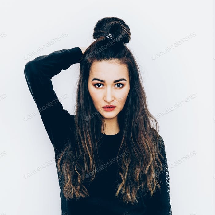 Portrait Fashion  Brunette Model with long hair Samurai style