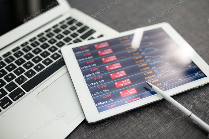 Finance data on digital tablet