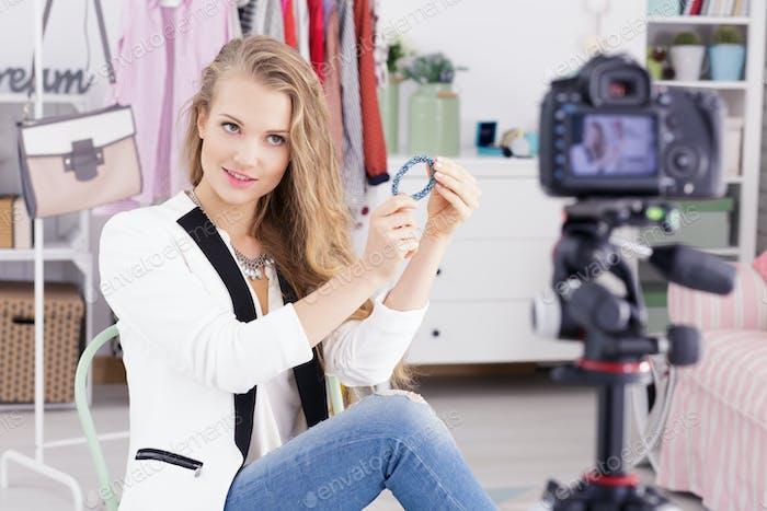 Blogger presenting jewellery
