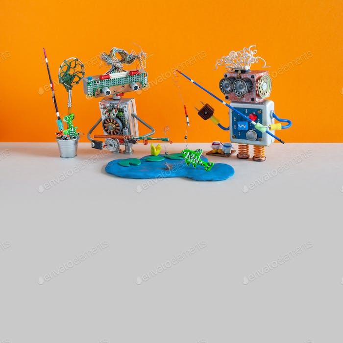 Zwei Fischer-Roboter fangen große Fische.