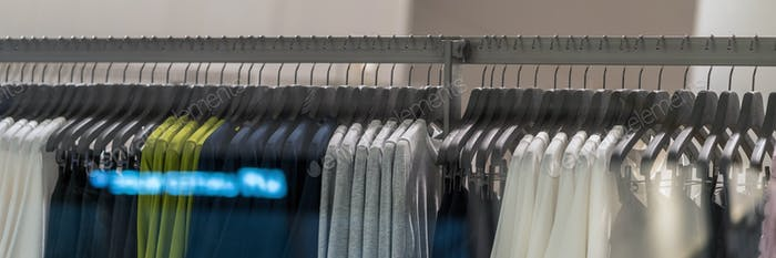 Banner, web page or cover template of clothes rack in glasses fashion shop at shopping