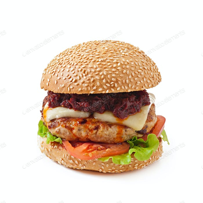 burger with chicken and bacon, homemade barbecue sauce