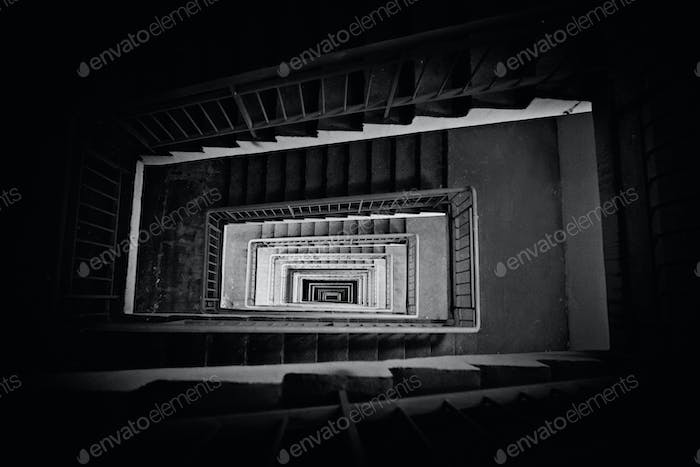 stairway down top view