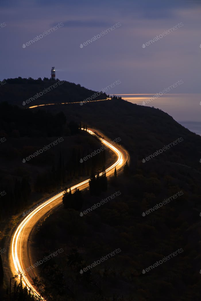 Night road to the lighthouse