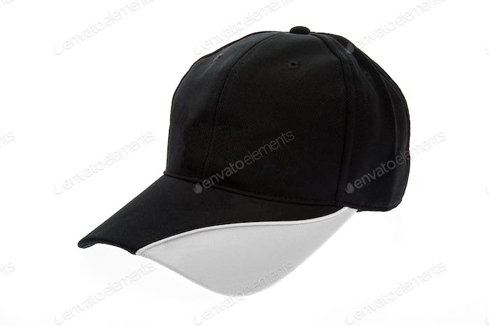 Black and white golf cap for man on white background