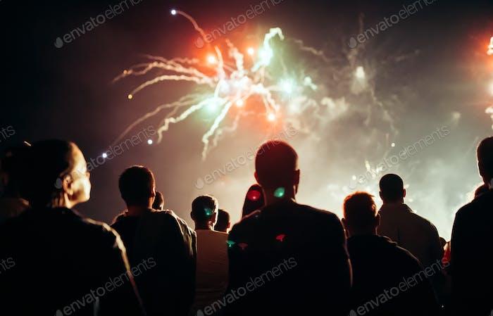 Crowd watching fireworks