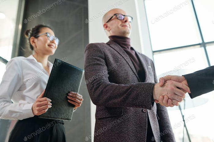 Mature businessman shaking hand of business partner after negotiation