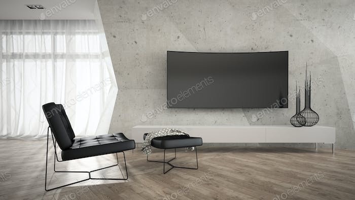 Part of stylish interior with black armchair 3D rendering