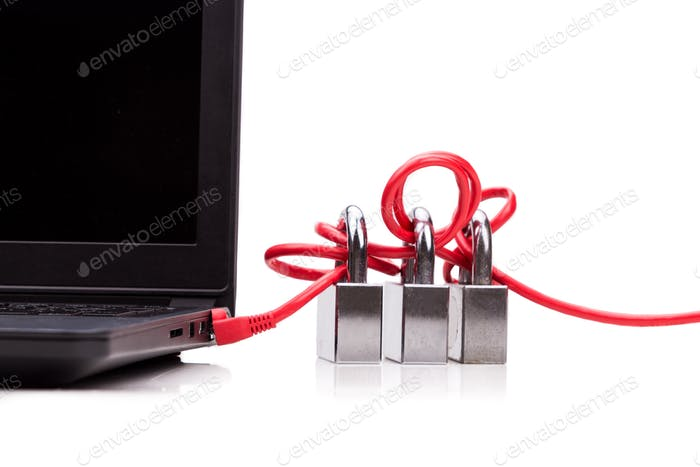 Concept of computer network security with triple padlocks over c