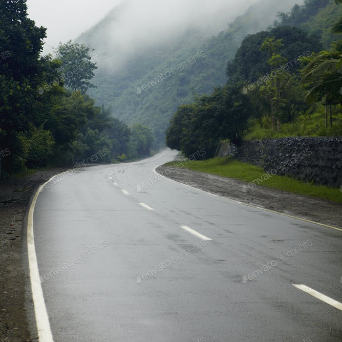 Damp Roadway in the Mountains