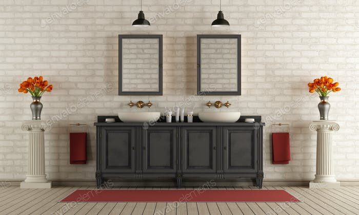 Classic bathroom with double washbasin