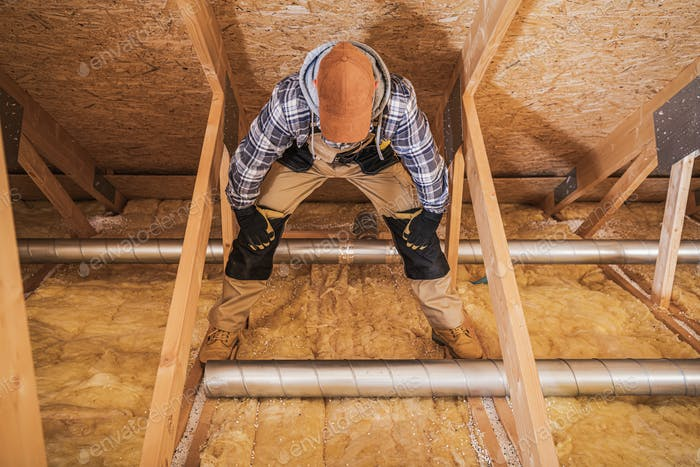 Duct Specialist Installing Air Vent System.