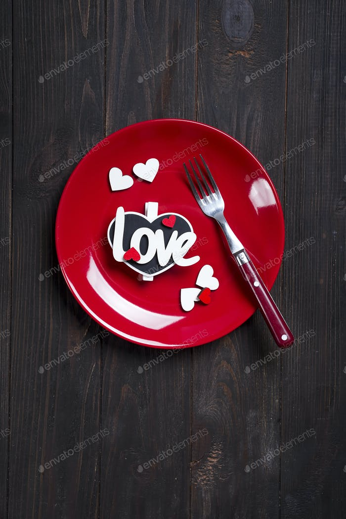 Romantic table setting for Valentines day or wedding