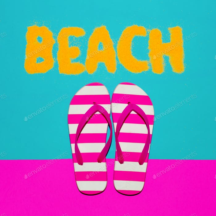 Beach mood. Summer time. Flip-flops fashion