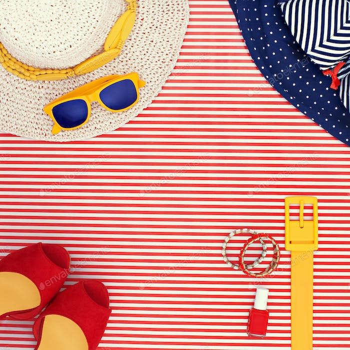 Womens Beach Themed Clothing on Striped Background