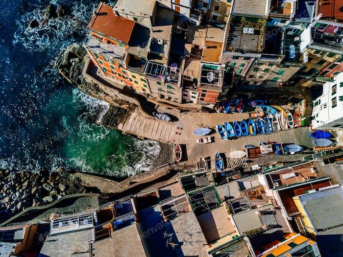 Aerial view of Cinque Terre, Riomaggiore, Italy.