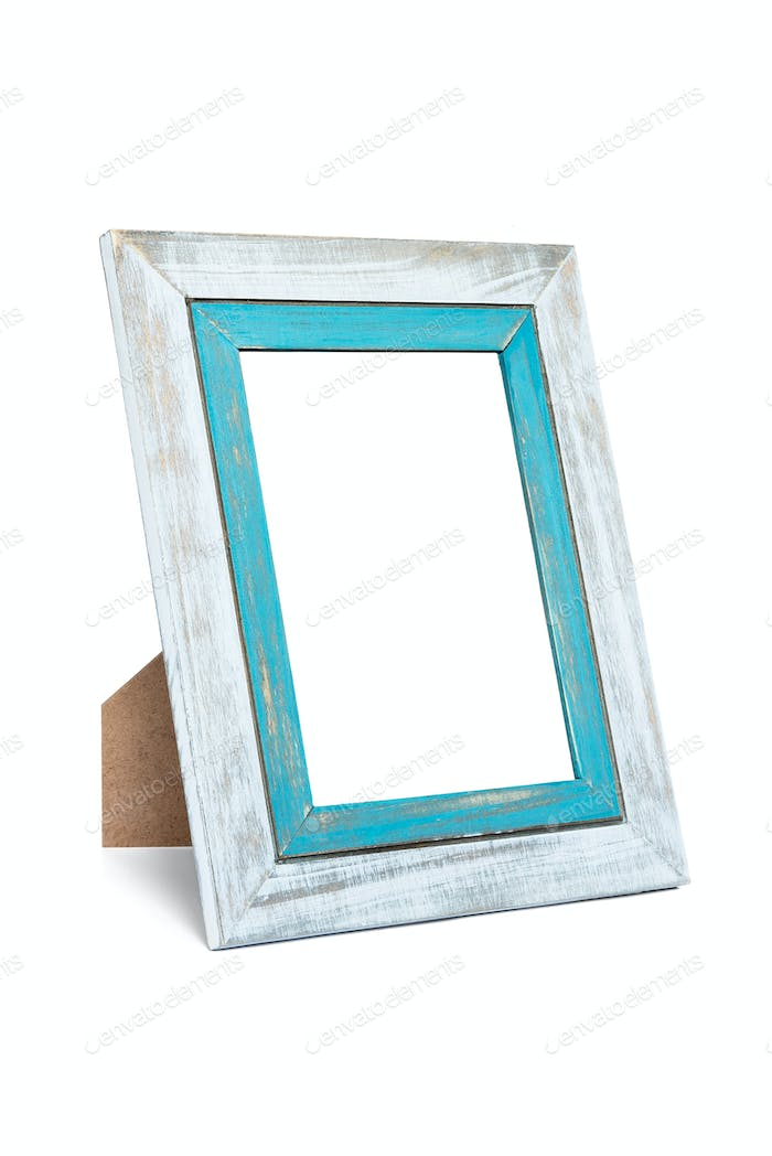 Double rustic photo frame on white background