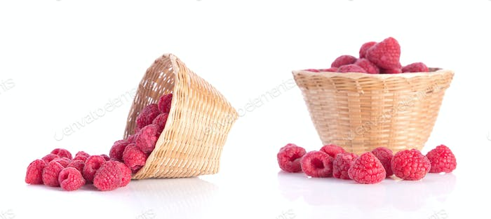 Red berry,bamboo baskets on white background.