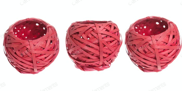 Red basket on white background isolated