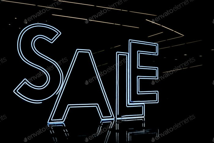 illuminated of neon light SALE word