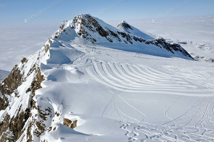 Ski piste in The Austrian Alps