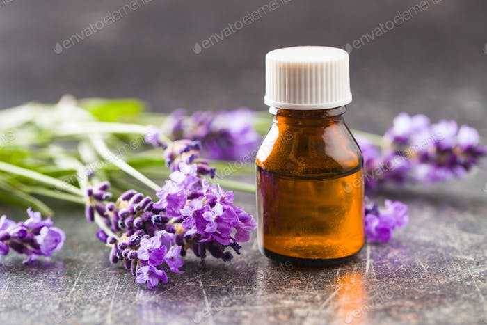 Essential oil and lavender flowers.