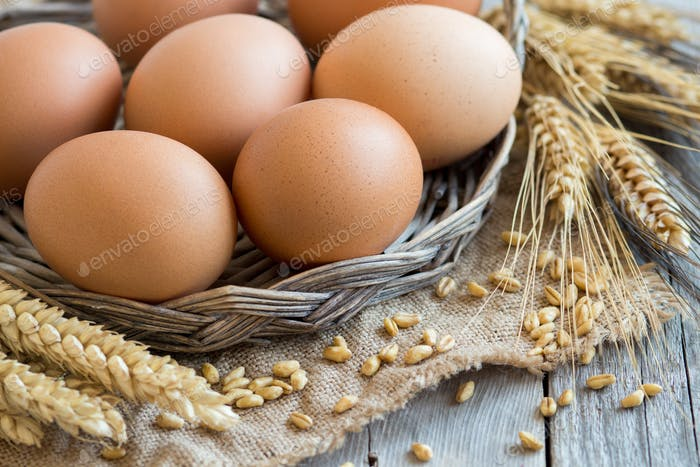Chicken eggs and wheat