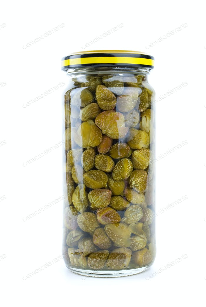 Glass jar with marinated capers