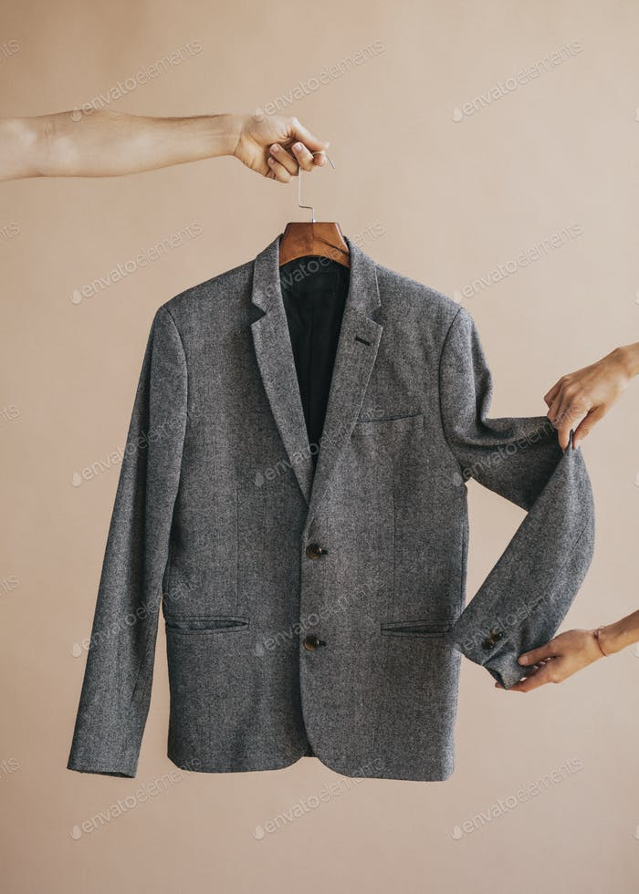 Gray blazer on a hanger