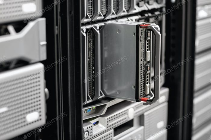 Close-up of Blade Server Rack At Enterprise Datacenter