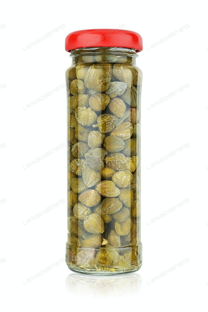 Glass jar with pickled capers isolated on white