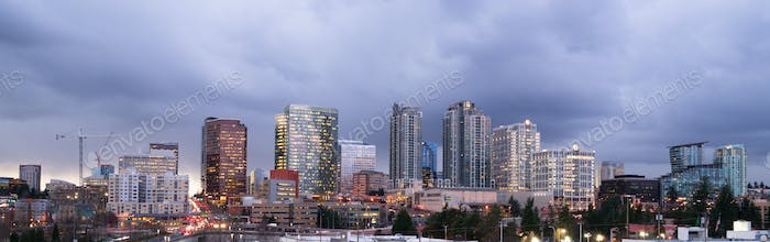 Stormy Skies Architecture Landscape Bellevue Washington Downtown