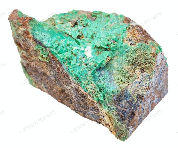 grüner Garnierit Stein (Nickelerz) isoliert