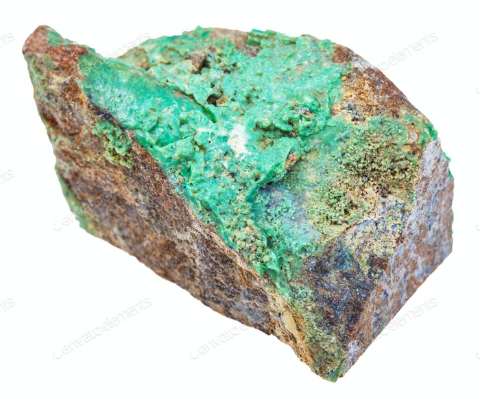 green Garnierite stone (nickel ore) isolated